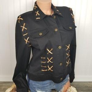 Christine Phillipe black embellished jacket Sz 12